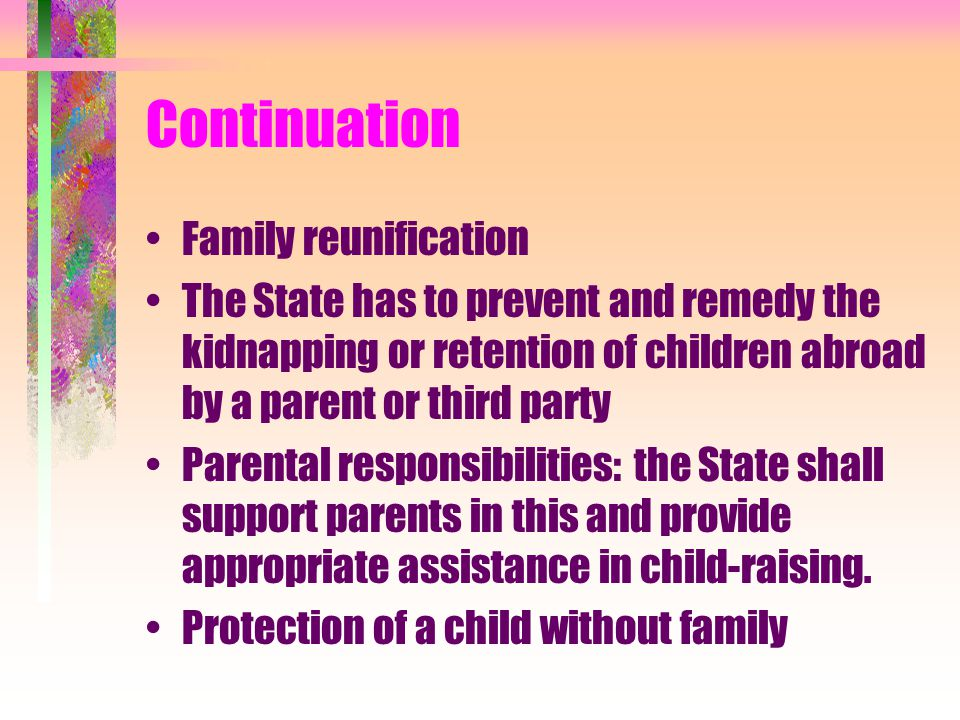 Continuation Family reunification