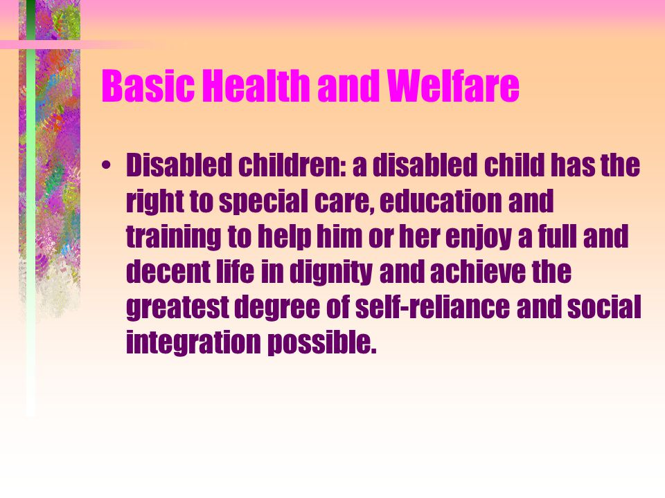 Basic Health and Welfare