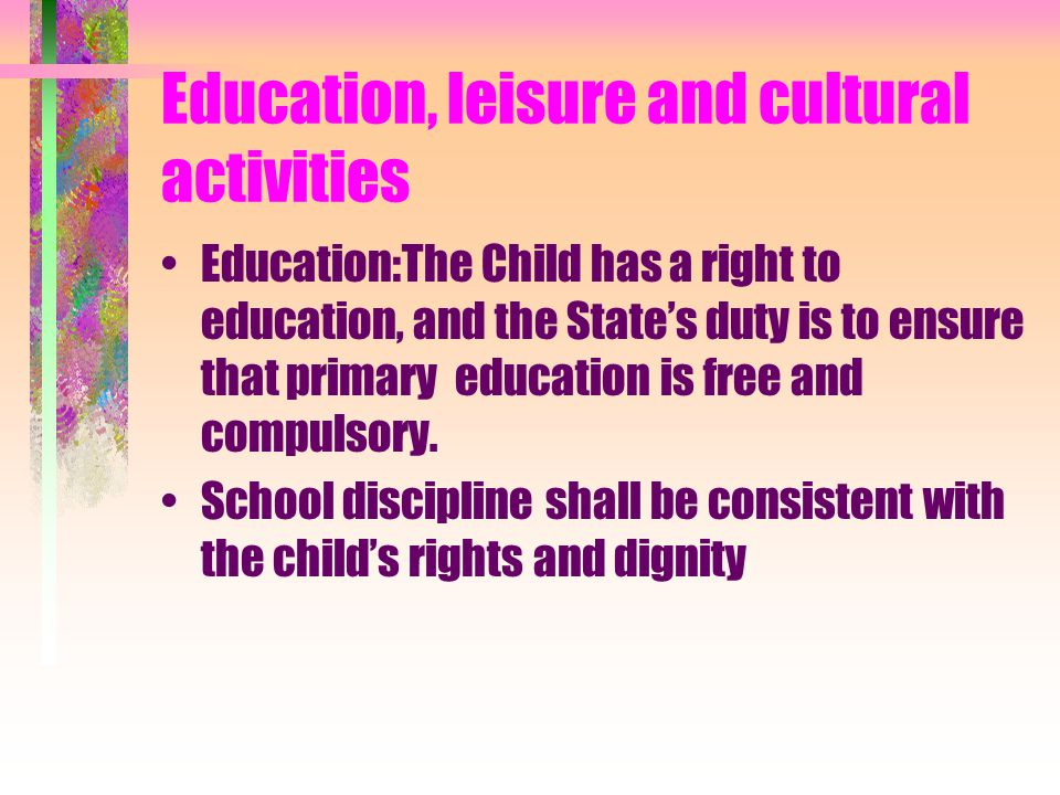 Education, leisure and cultural activities
