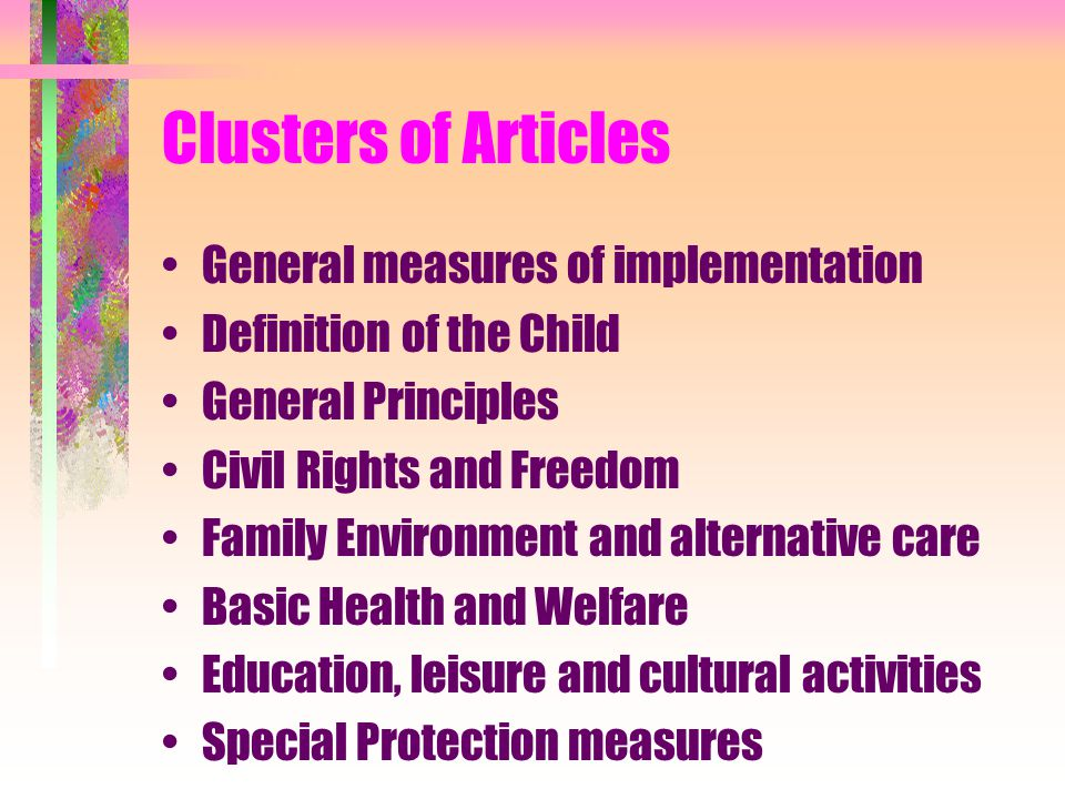 Clusters of Articles General measures of implementation