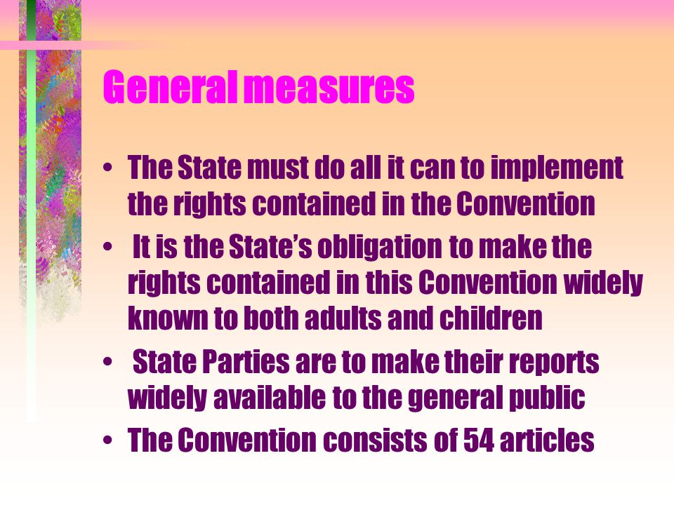 General measures The State must do all it can to implement the rights contained in the Convention.