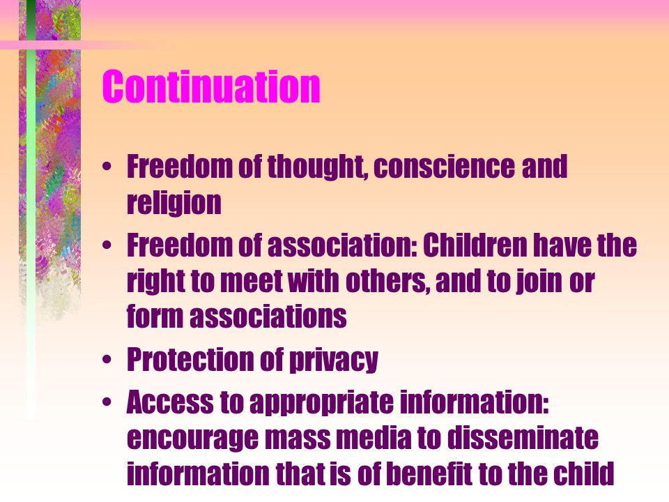 Continuation Freedom of thought, conscience and religion