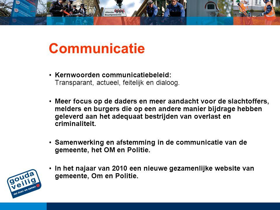 Communicatie Kernwoorden communicatiebeleid: Transparant, actueel, feitelijk en dialoog.