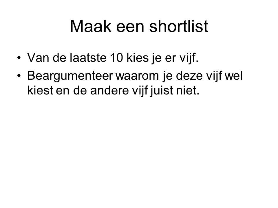 Maak een shortlist Van de laatste 10 kies je er vijf.