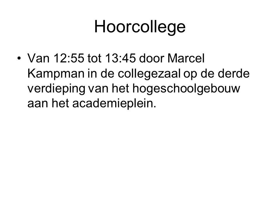 Hoorcollege Van 12:55 tot 13:45 door Marcel Kampman in de collegezaal op de derde verdieping van het hogeschoolgebouw aan het academieplein.