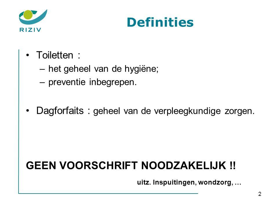 Definities GEEN VOORSCHRIFT NOODZAKELIJK !!