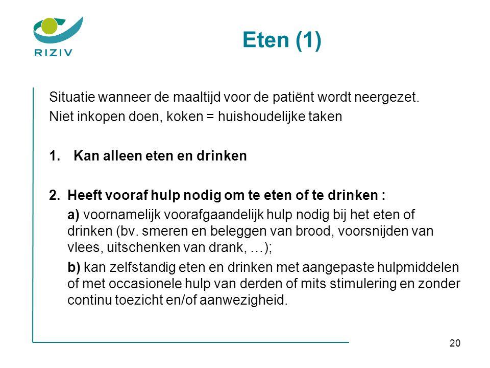 Eten (1) Situatie wanneer de maaltijd voor de patiënt wordt neergezet.