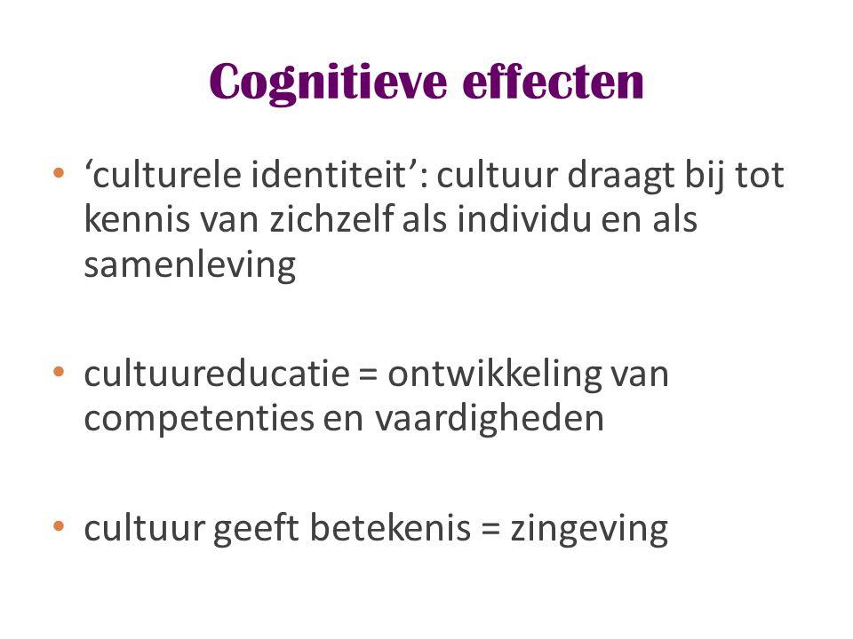 Cognitieve effecten 'culturele identiteit': cultuur draagt bij tot kennis van zichzelf als individu en als samenleving.