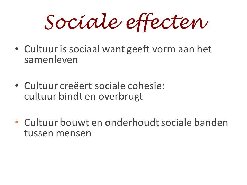 Sociale effecten Cultuur is sociaal want geeft vorm aan het samenleven