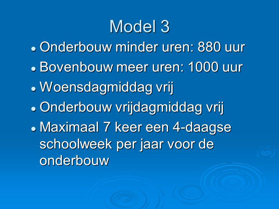 Model 3 Onderbouw minder uren: 880 uur Bovenbouw meer uren: 1000 uur