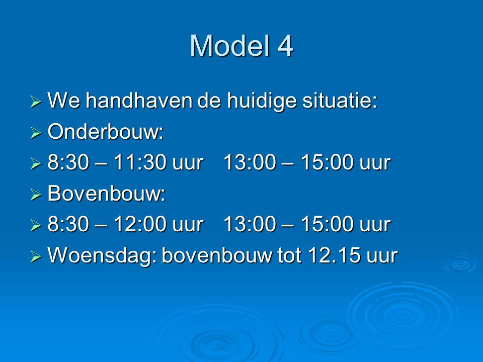 Model 4 We handhaven de huidige situatie: Onderbouw: