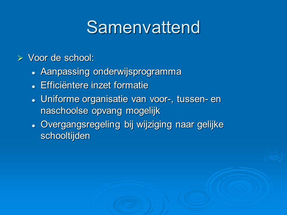 Samenvattend Voor de school: Aanpassing onderwijsprogramma