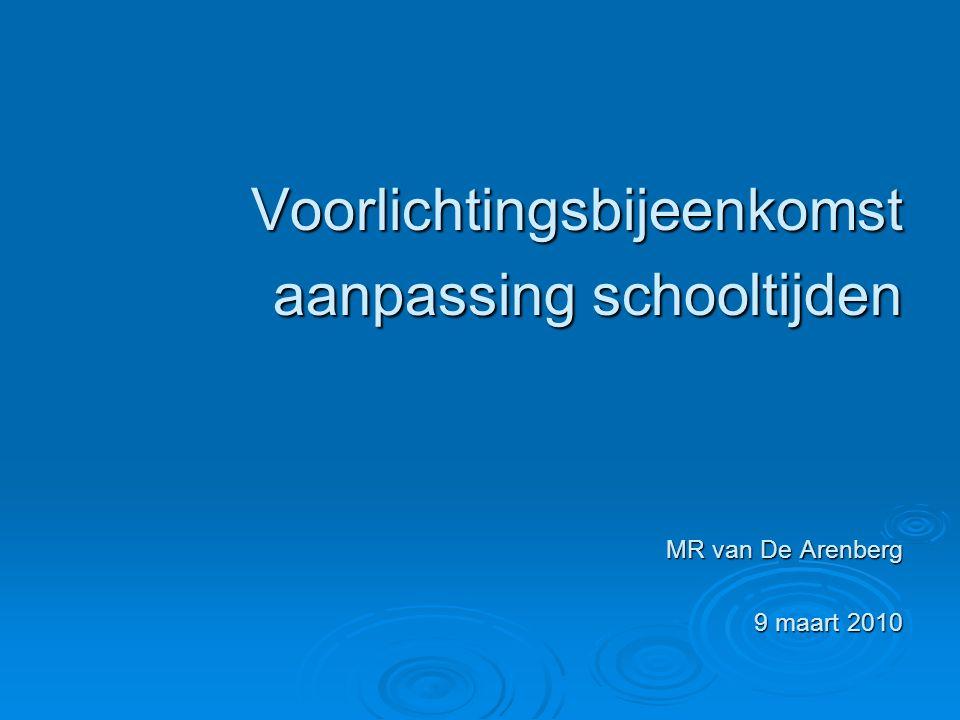 Voorlichtingsbijeenkomst aanpassing schooltijden