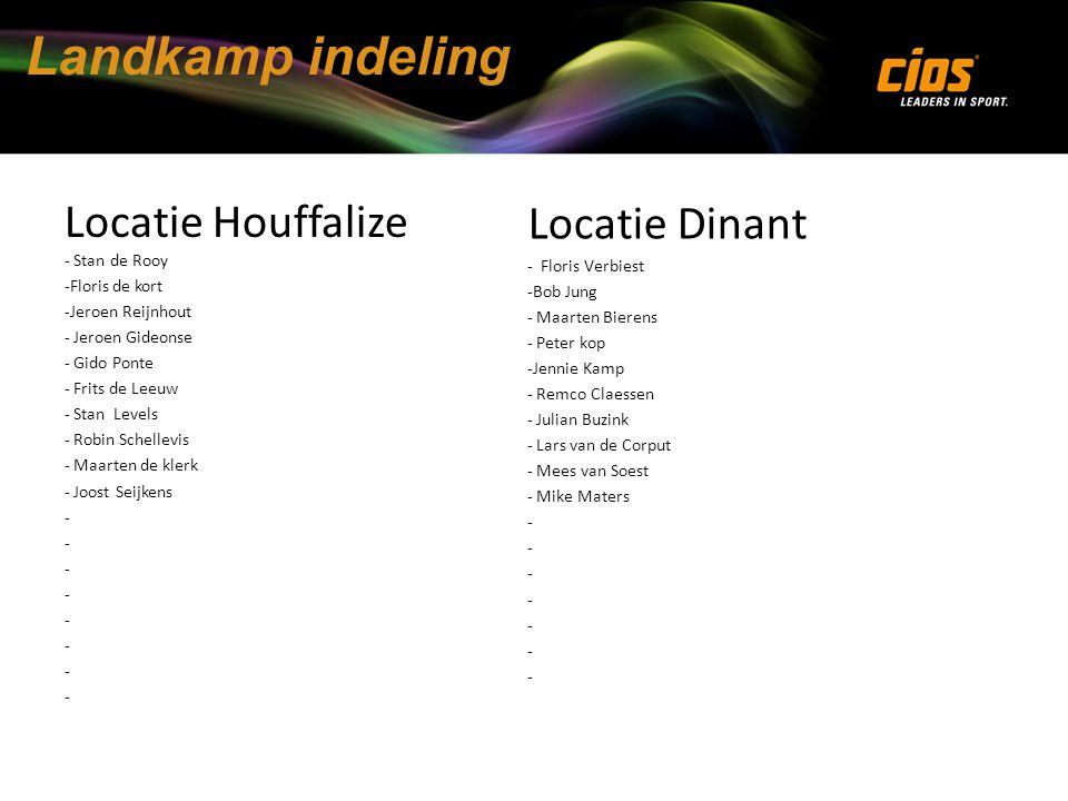 Landkamp indeling Locatie Houffalize - Stan de Rooy Locatie Dinant