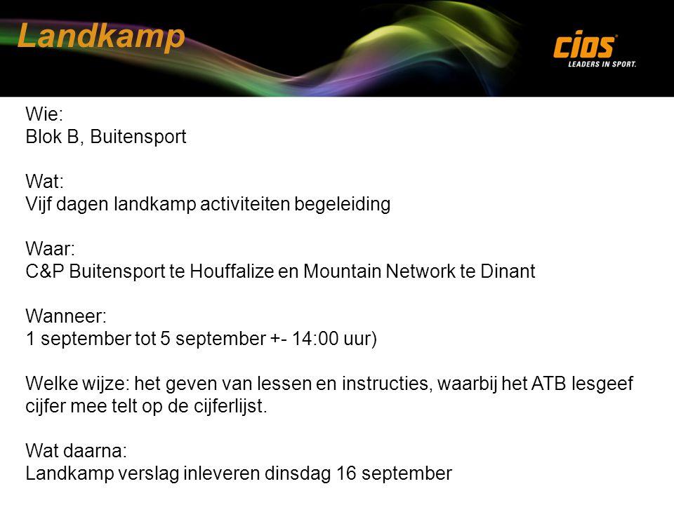Landkamp Wie: Blok B, Buitensport Wat: