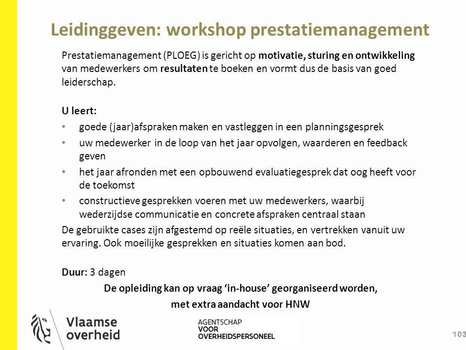 Leidinggeven: workshop prestatiemanagement