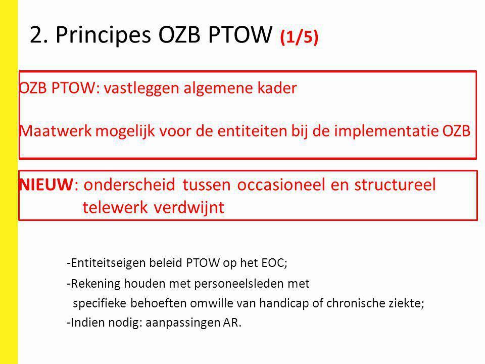 2. Principes OZB PTOW (1/5) OZB PTOW: vastleggen algemene kader. Maatwerk mogelijk voor de entiteiten bij de implementatie OZB.