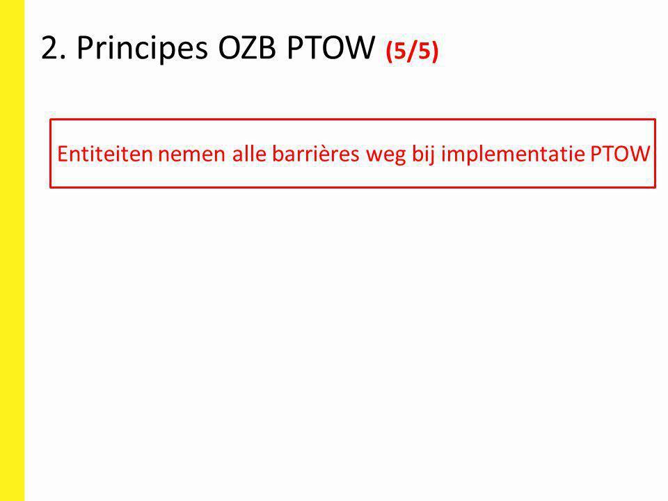 2. Principes OZB PTOW (5/5) Entiteiten nemen alle barrières weg bij implementatie PTOW