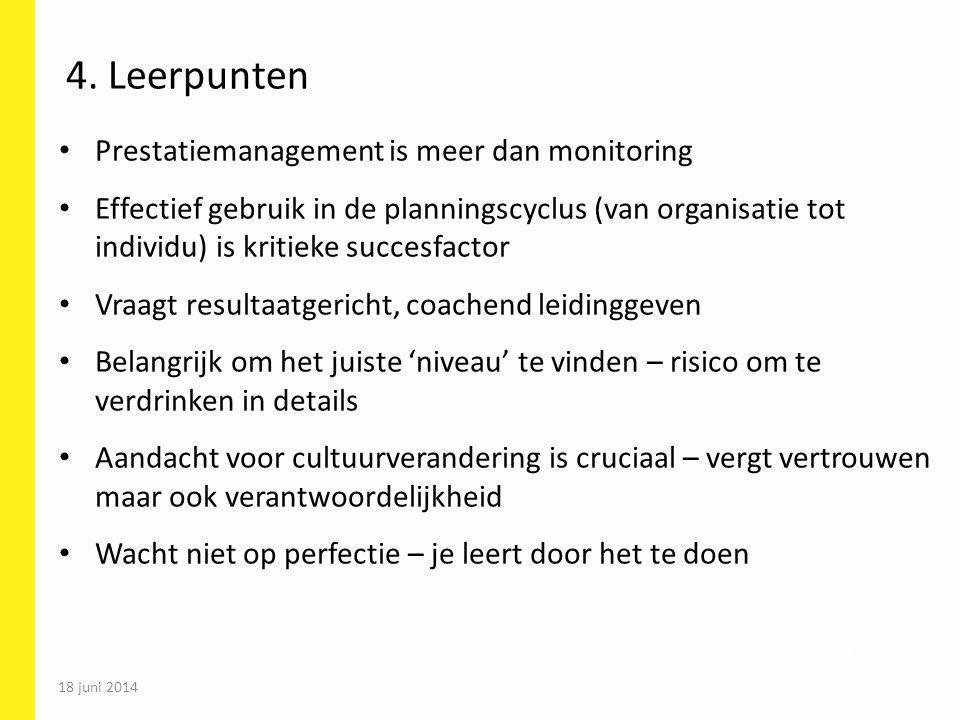 4. Leerpunten Prestatiemanagement is meer dan monitoring