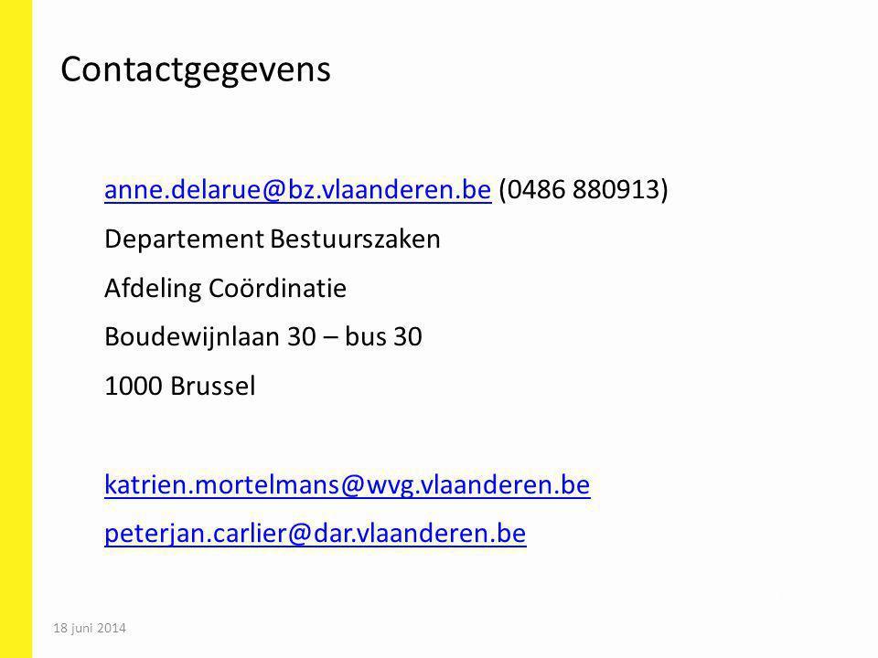 Contactgegevens anne.delarue@bz.vlaanderen.be (0486 880913)