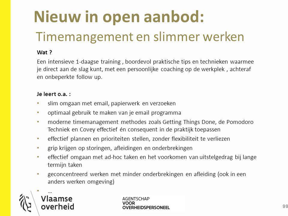 Nieuw in open aanbod: Timemangement en slimmer werken Wat