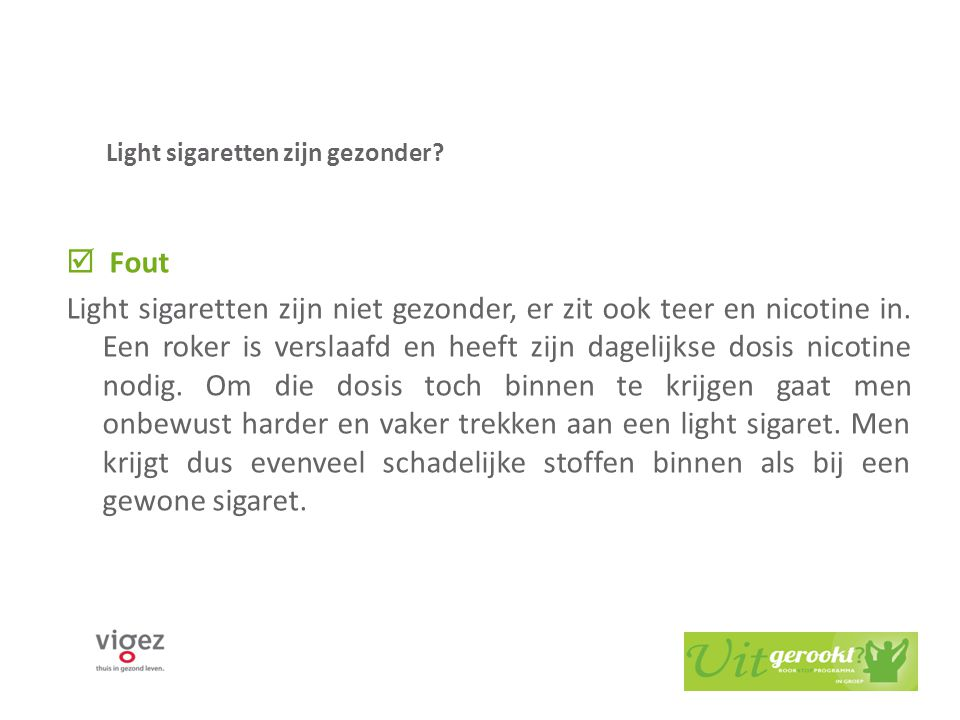 Light sigaretten zijn gezonder
