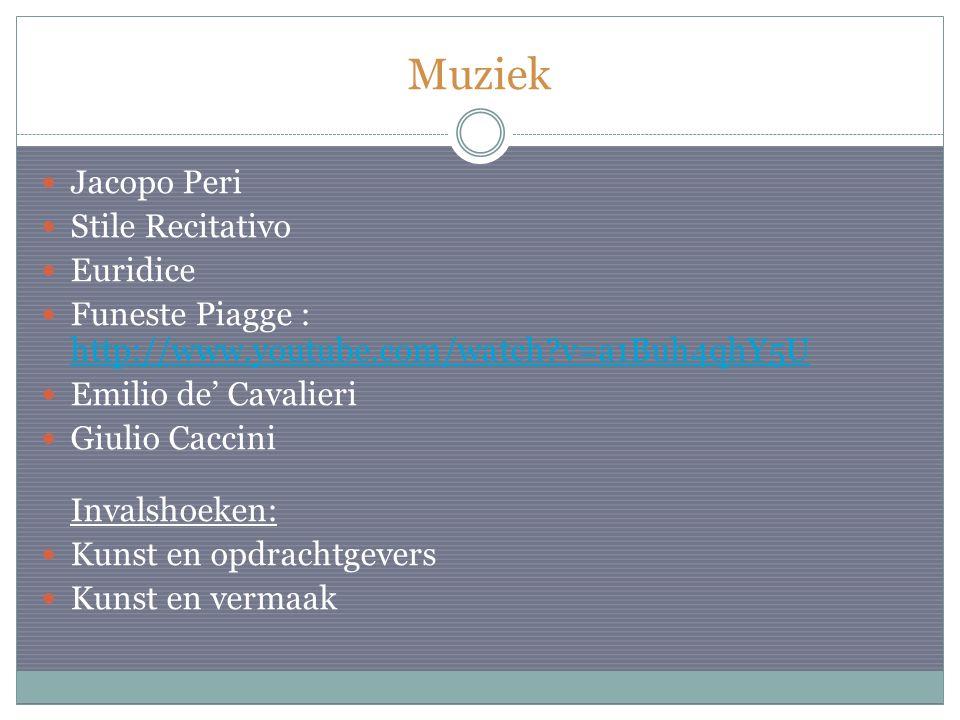 Muziek Jacopo Peri Stile Recitativo Euridice