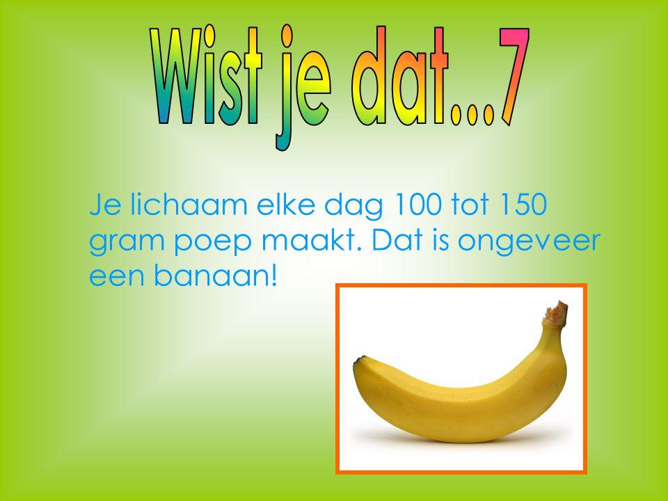 Wist je dat...7 Je lichaam elke dag 100 tot 150 gram poep maakt. Dat is ongeveer een banaan!