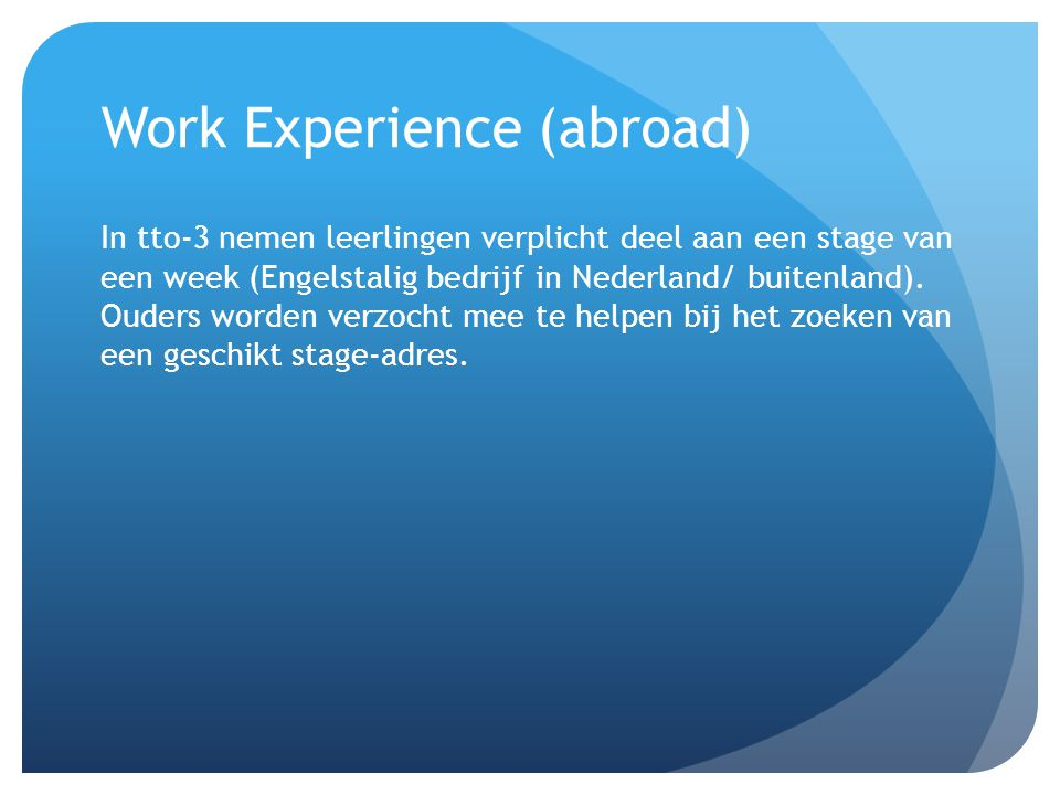 Work Experience (abroad)