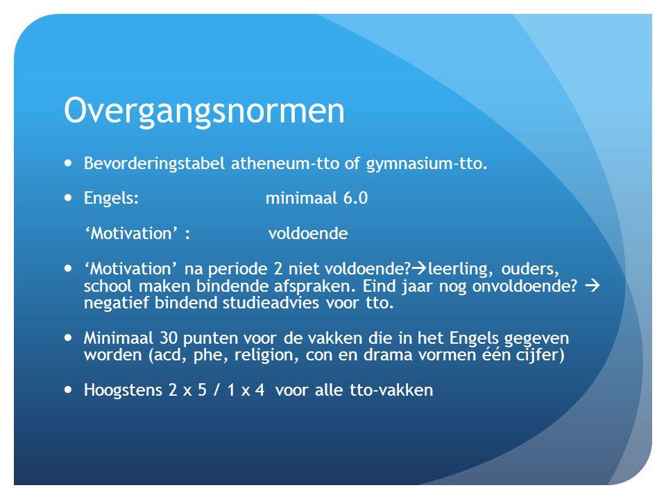Overgangsnormen Bevorderingstabel atheneum-tto of gymnasium-tto.