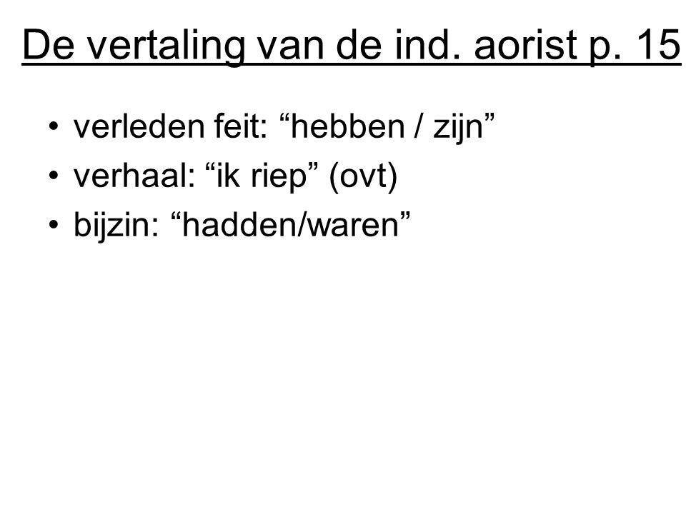 De vertaling van de ind. aorist p. 15