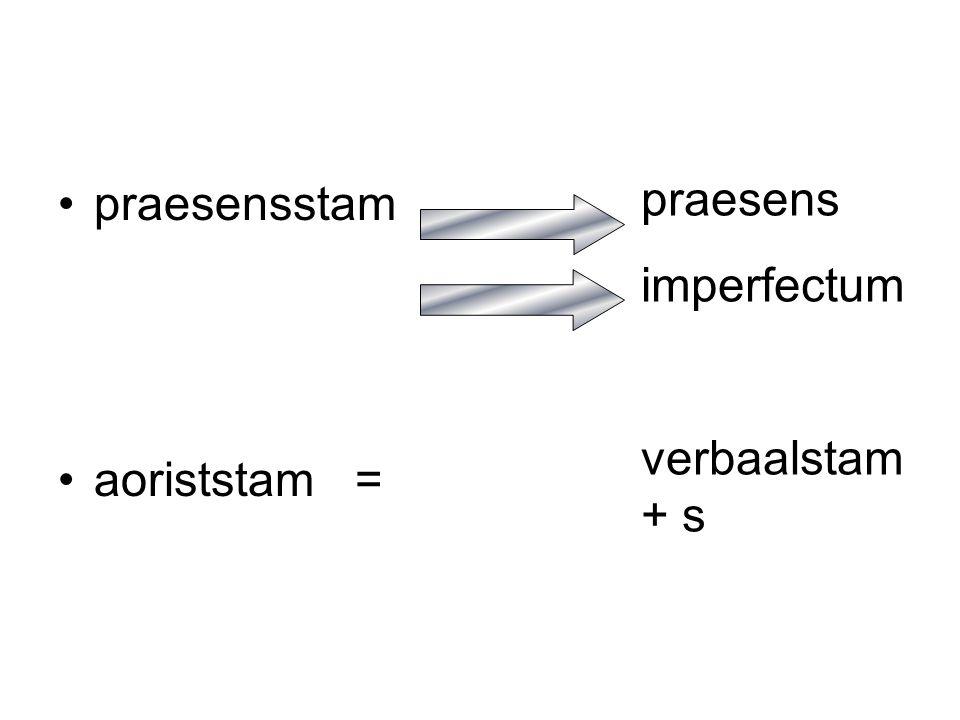 praesensstam aoriststam = praesens imperfectum verbaalstam + s