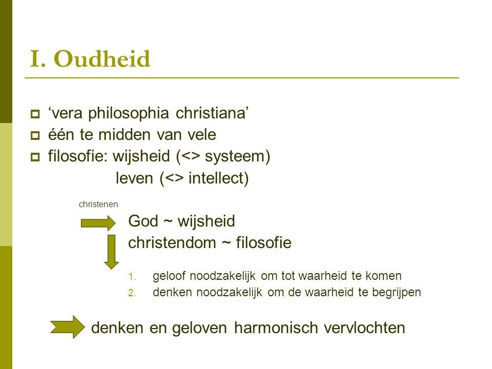 I. Oudheid 'vera philosophia christiana' één te midden van vele