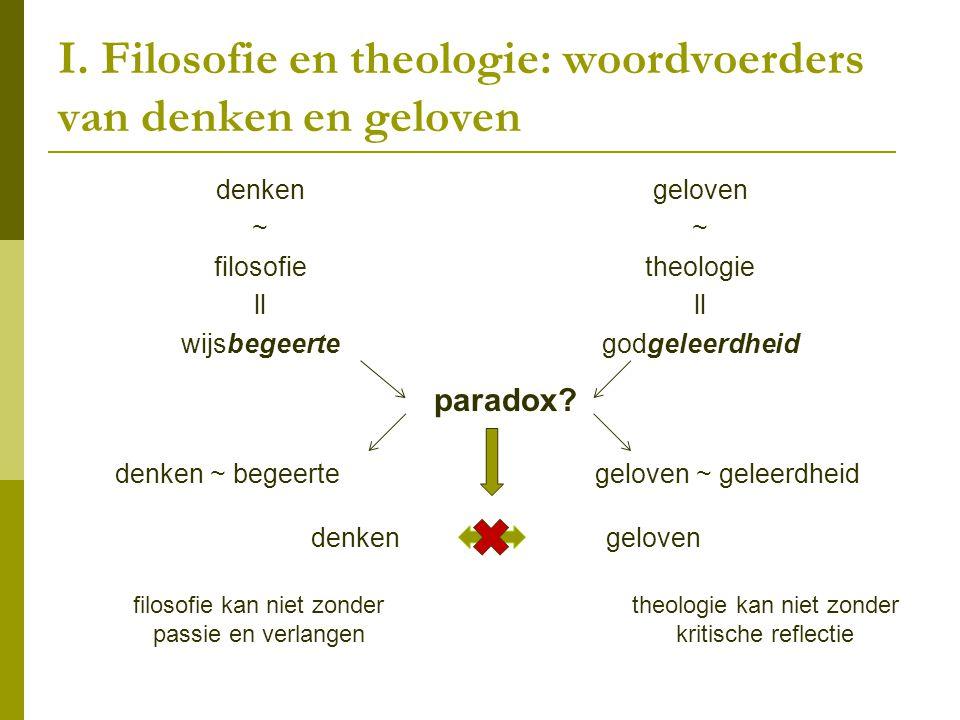 I. Filosofie en theologie: woordvoerders van denken en geloven