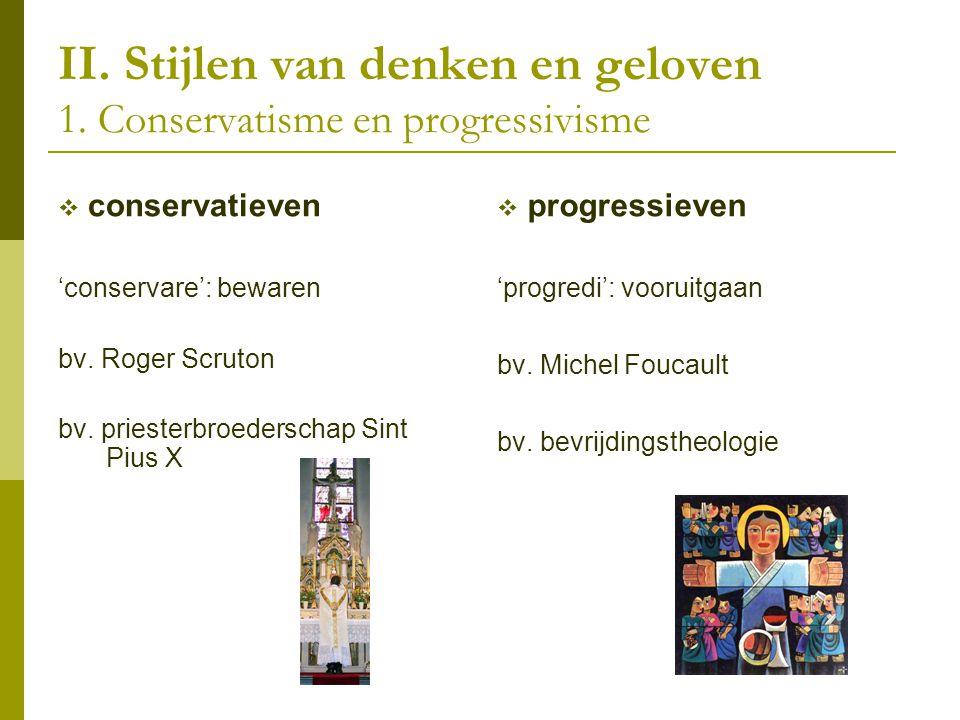 II. Stijlen van denken en geloven 1. Conservatisme en progressivisme