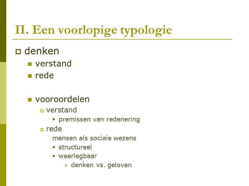 II. Een voorlopige typologie
