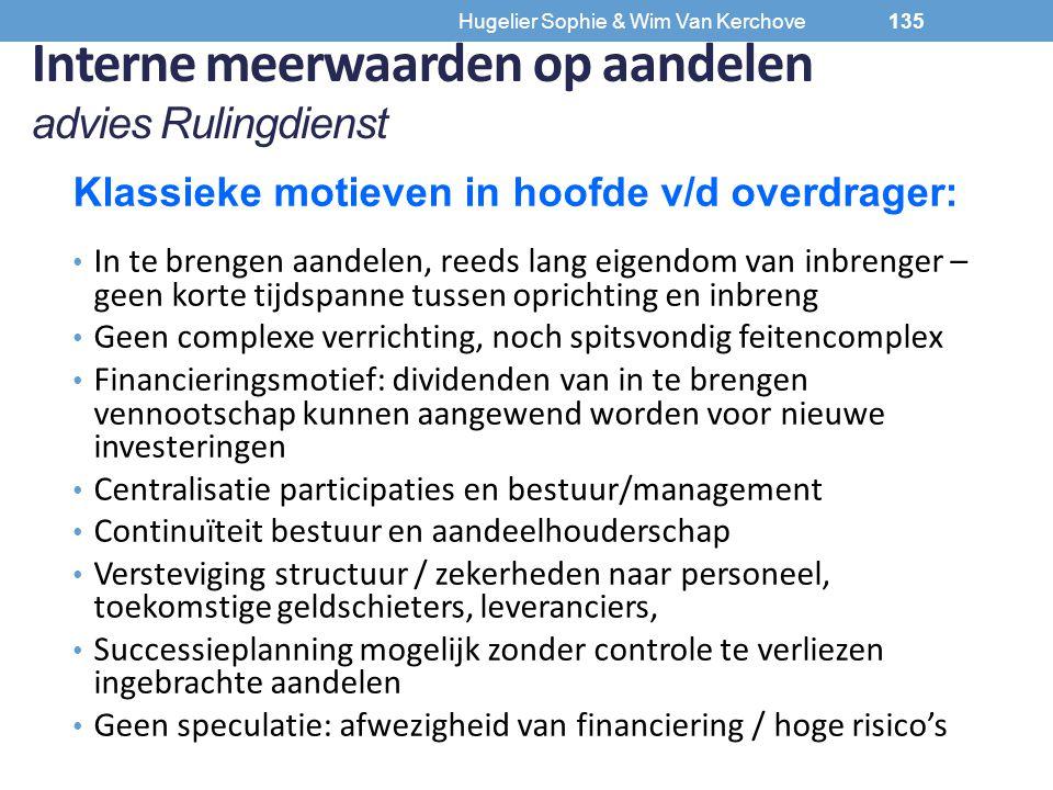 Interne meerwaarden op aandelen advies Rulingdienst