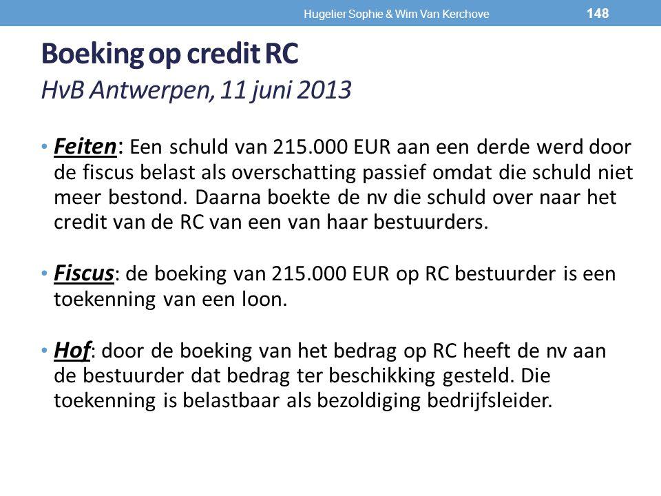 Boeking op credit RC HvB Antwerpen, 11 juni 2013