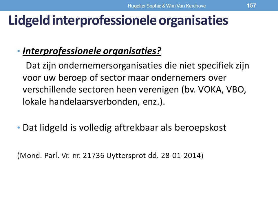 Lidgeld interprofessionele organisaties