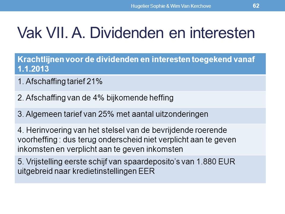 Vak VII. A. Dividenden en interesten