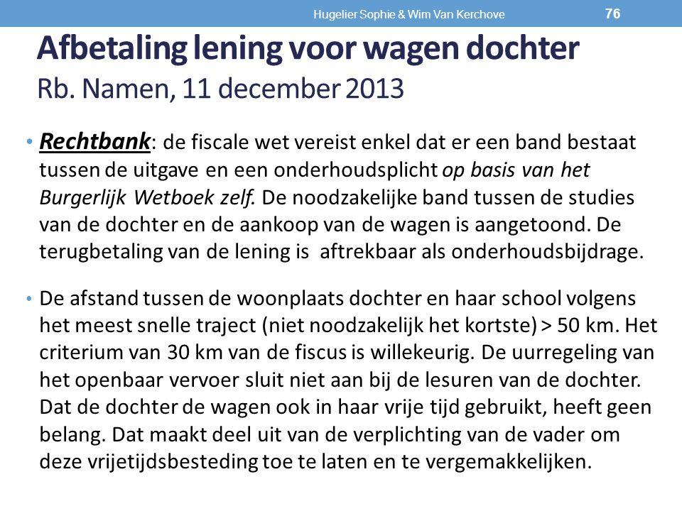 Afbetaling lening voor wagen dochter Rb. Namen, 11 december 2013