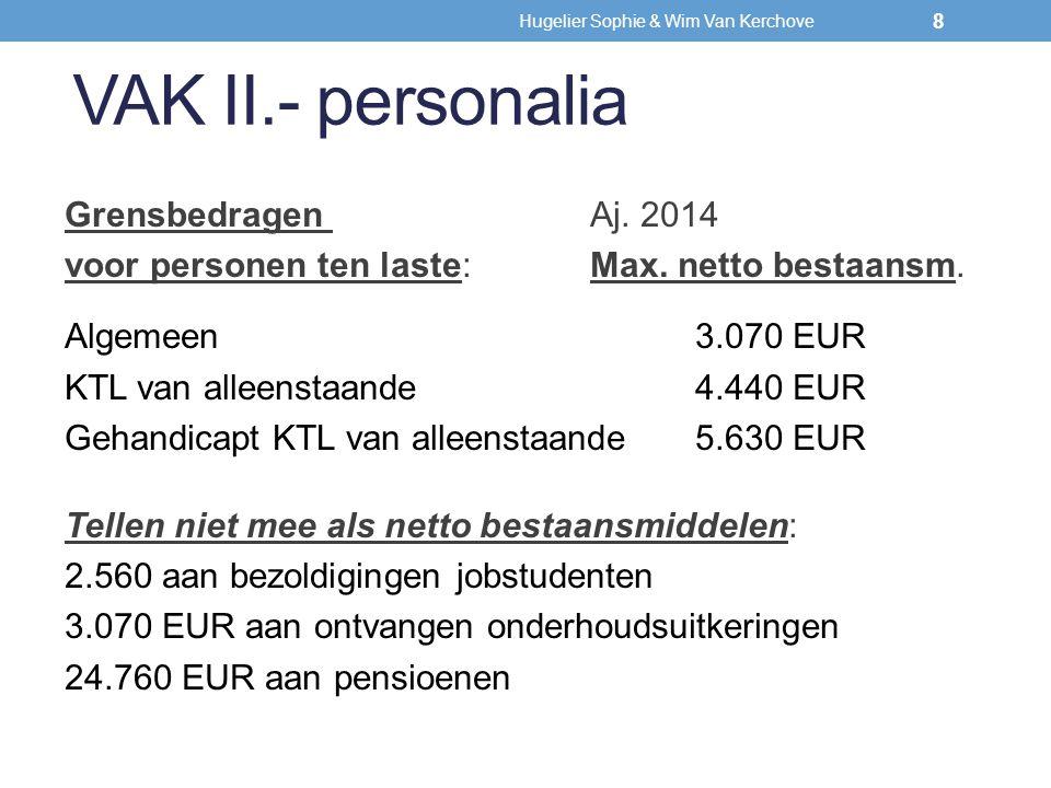 VAK II.- personalia Grensbedragen Aj. 2014