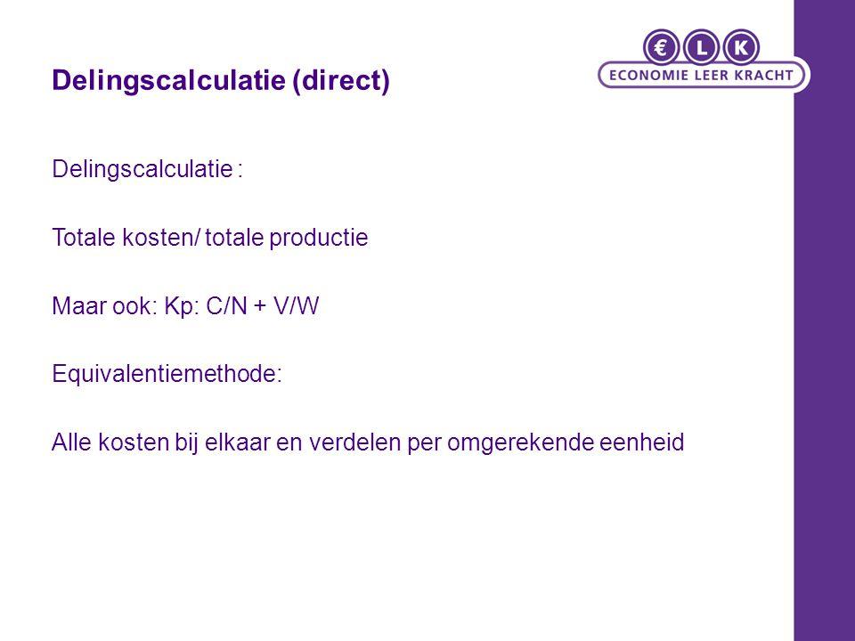 Delingscalculatie (direct)