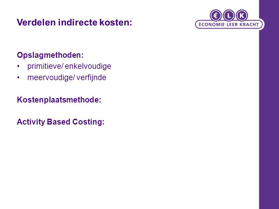 Verdelen indirecte kosten: