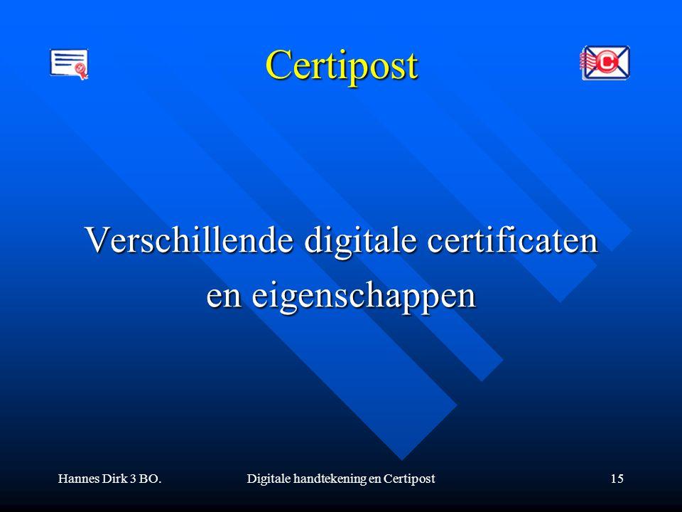 Certipost Verschillende digitale certificaten en eigenschappen