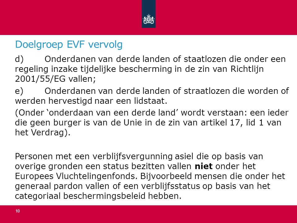 Doelgroep EVF vervolg
