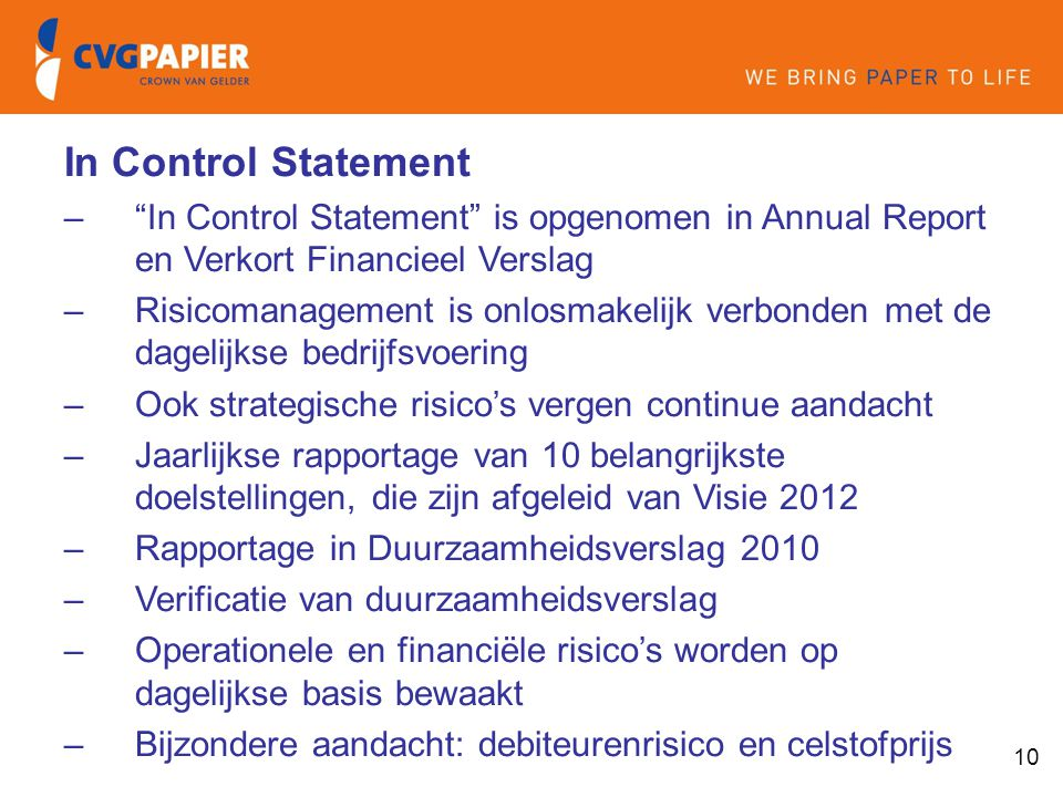 In Control Statement In Control Statement is opgenomen in Annual Report en Verkort Financieel Verslag.