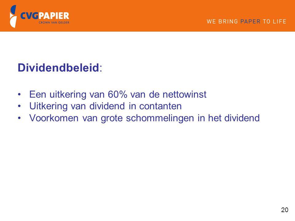 Dividendbeleid: Een uitkering van 60% van de nettowinst