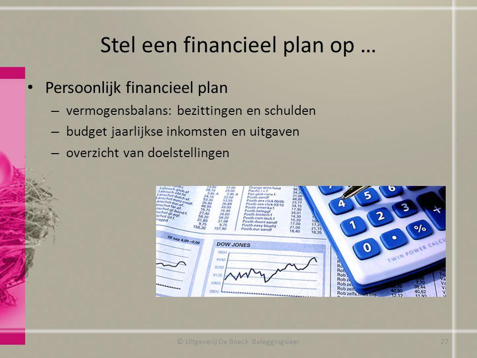 Stel een financieel plan op …