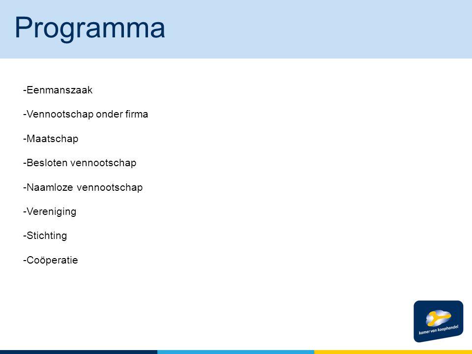Programma Eenmanszaak Vennootschap onder firma Maatschap